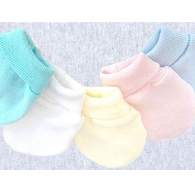 Preemie mittens in pink yellow white green and blue